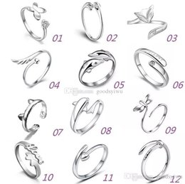 Wholesale Wholesale White Gold Wedding Bands - 925 Sterling Silver Rings Multi Charms Dolphins Dragonfly Wings Of The Angel Love Fox Butterfly Opening Adjustable Ring For Women