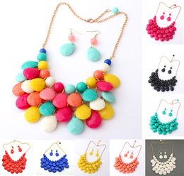 Wholesale Vintage Clothes Accessories - Free DHL 9 Styles Fashion Colorful Rhinestone Boho Vintage Nature Stone Necklace drops Jewelry Clothing Accessories E774E