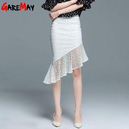 Wholesale Casual Asymmetrical Skirts - Causal Slim Skirts Summer Lace Skirt Women Asymmetrical White Midi Skirt Knee Length Irregular Saia De Renda Sexy Female GAREMAY