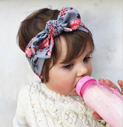 Wholesale Wholesale Flower Hair Accessories - Baby Bow Headband Girls Bohemian bunny Hairband leopard flower printed Baby 19*6 pick color Hair Accessories