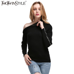 Wholesale Off Shoulder Turtleneck - Wholesale- [TWOTWINSTYLE] Spring Zipper Long Sleeves High Collar Off Shoulder Kintted Sweatshirt Women New Streetwear