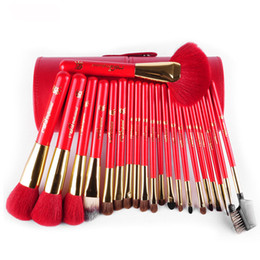 Wholesale Pen Brush Cosmetic Container - 2016New Red Wood Handle Animal Hair 21Pcs Makeup Brushes Set With Round Pen Holder Cosmetic Tool Pu Leather Cup Container Case