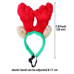 Wholesale Outdoor Reindeer Decorations - Xmas Puppy Cats Reindeer Headhoop Antlers with Long Ears Home Party Decoration Christmas Accessory Pet Dogs