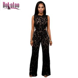 Wholesale Rompers For Sale - Wholesale- Dokotoo macacao feminino 2017 summer Black Lace Nude Illusion Back Jumpsuit LC64117 body suits rompers overall for women on sale