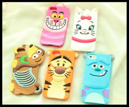 Wholesale Iphone4s Cases Cartoon - Lovely 3D Cartoon Animal Monsters Sulley Tigger Mary Cats Dog Soft Silicone Case For iphone4S phone 5S 6 6s plus