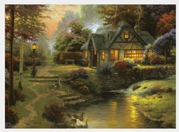 Wholesale Painted Paradise - Thomas Kinkade Landscape Oil Paintings Art Reproduction High Quality Giclee Print On Canvas Mountain Paradise Decor art Home Decoration Gift