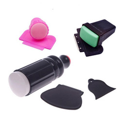 Wholesale Image Plate Xl - 7Pcs set XL Large Small Scraper Nail Art Stamping Plate & Double Ended Stamper 2 Side Use Printing Stamp Polish Image Tool