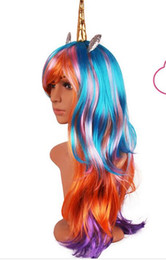 Wholesale Cosplay Tattoo - Halloween Unicorn Wig With Headband Rainbow Dash Cosplay Colorful Synthetic Hair Party Hats New Unicorn Cosplay Wig + 10pcs Free Tattoos
