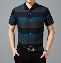 Wholesale Cheap Organic Clothing - 2017 fashion summer striped men shirt short sleeve cheap-clothes-china mecerized cotton mens shirts BLHF 378008