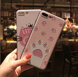 Wholesale Crown Mobile Phone Case - For Iphone cell phone cover crown powder cat silicone mobile phone cases anti fall protective cover mobile phone accessories