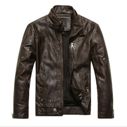 Wholesale Mens Fleece Lined Jackets - Fall-New arrival 2016 mens vintage faux leather jackets lined fleece short bomber jacket zipper up motorcycle jackets