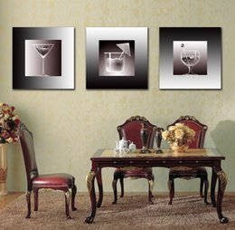 Wholesale Modern Wine Abstract Art Canvas - Modern Beautiful Transparent Wine Glass Picture Giclee Print On Canvas Home Decor Wall Art Set30190