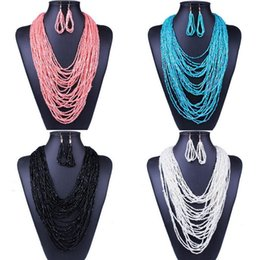 Wholesale Multi Layer Resin Beads - Womens Fashion Seed Beads Multi-Layers Bib Bohemina Necklace+Earrings Jewelry Set