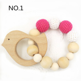 Wholesale Animal Wood Toy - 4pcs per lot Sale Wooden Toy Mommy Jewelry Baby Crochet Nursing Toy Teething Baby Crochet Animals Baby Toy TT002