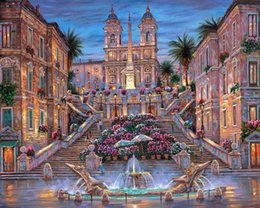 Wholesale Spanish Arts - The Spanish Steps HD Art Print Original Oil Painting on Canvas high quality Home Wall Decor,Multi size,Free Shipping,Framed