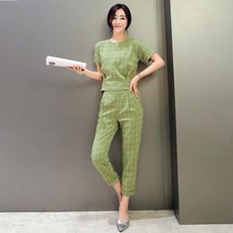 Wholesale Elegant Casual Pants Suits - Wholesale-Fashion Casual Cotton Pants Suits 2016 Summer Ladies Plaid Tops + Tenths Pant 2 Piece Set Women Elegant Trouser Suit With Pants