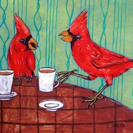 Wholesale Hand Painted Art Ceramics - cardinals at coffee shop ceramic animal bird art tile impressionism animals, Hand Painted Art Oil Painting.any customized size accepted sch