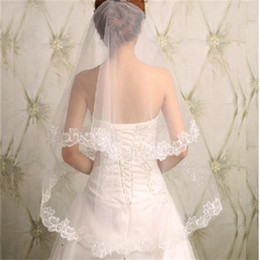 Wholesale New Veils - 2016 New Arival Fashional Wedding Accessory Two Layer Appliqued Lace Edge Bridal Veil for Happy Marriage