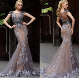 Wholesale Short Sleeve Fancy Dresses - 2016 Sexy Custom Made Mermaid Evening Dresses Fancy New Short Cap Sleeves Illusion Back Lace Appliqued Long Evening Party Pageant Gowns