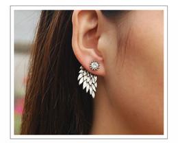 Wholesale Wings Piercing - Hot fashion earrings for women Retro angel wings earrings Dimensional Diamond pierced studs free shipping