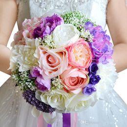 Alta qualità Pink Purple Beach Vintage Wedding Decoration Artificiale Damigella d'onore Fiore di seta Rose WF050 Top Wedding Bouquet da sposa da