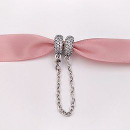 Cadena de estilo pandora de plata de ley online-Auténticos granos de plata de ley 925 pavimentan los encantos de la cadena de inspiración se adapta a las pulseras de joyería de estilo europeo Pandora collar 791736CZ