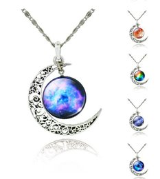Wholesale Moon Necklace Colors - 12 colors Vintage moon necklace starry Moon Outer space Universe Gemstone necklaces pendants Children Accessories Tree of life n