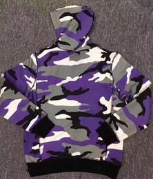 Chapéu de camuflão branco roxo on-line-2017 hot sale camo hoodie caixa logotipo Com Capuz marca novo estilo camisola roxa camo branco camo hoodies com chapéu hoodies frete grátis
