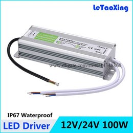 Wholesale 24v Led Driver - DC 100W LED Driver Power Supply Waterproof Outdoor 12V   24V 100W Transformers Adapter LED Strip light Lamp 20pcs Free shipping