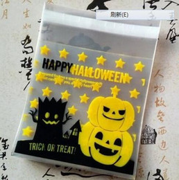 Wholesale Plastic Cookies Pack Bag - 100 pcs pack halloween theme Cookie packaging Colorful bottles self-adhesive plastic bags for biscuits snack baking package 10x10cm