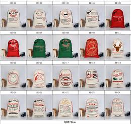 glitterband großhandel rot Rabatt 24 Arten Weihnachtsgroßes Segeltuch Monogrammable Weihnachtsmann-Drawstring-Tasche mit Ren, Monogramable Weihnachtsgeschenke Sankt-Säcke Beutel
