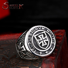 Wholesale New Arrival Product Ring - new product Steel soldier New Arrival cross Knights Templars ring men stainless steel unique jewelry exquisite men biker ring