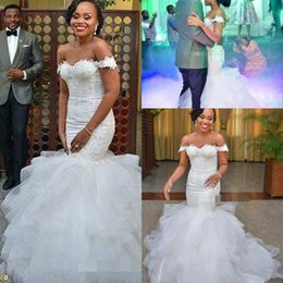 Wholesale wedding dresses off shoulder style - Africa Off the Shoulder Mermaid Wedding Dresses Elegant Applique Ruffles Chapel Train Tulle Lace Up Custom Made Bridal Gowns Country Style