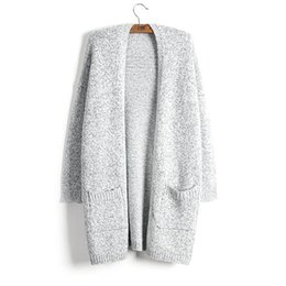 51940cbb95 Sweater Women Coat Fashion Autumn Winter Thick Keep Warm Cardigan New Lady Sweater  Gray Long Style Knit Solid With Pocket Oversized 5XL