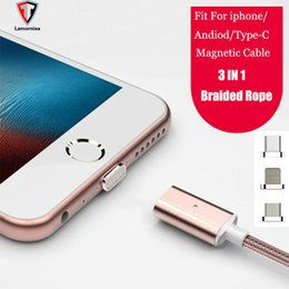 Wholesale Micro Usb Gold - Micro USB Magnetic Cable 3 in 1 Type-c Lightning Data Sync Charger Adapter For iphone For Samsung Charging Cable