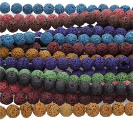 """Wholesale Diy For Jewelry - 15"""" A Strand Natural Lava Rock Round Stone Beads Spacer Beads 8mm For DIY Jewelry Making"""