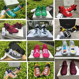 Wholesale Real Families - Pharrell Williams NMD Human Race Runner Shoes Men Women REAL BOOST Burgundy Maroon Friends and Family Sun Glow Green Yellow Trainer Sneakers