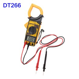 Wholesale Digital Multimeter Free - Free Shipping ! Wholesale DM6266 Digital LCD Clamp Multimeter DMM AC DC Current Voltmeter Tester Yellow INS_50Z