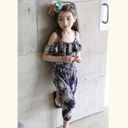 Wholesale Girl Kid Hot Pants - Hot new Summer children floral printing jumpsuit girls falbala shoulder suspender pants kids cotton converalls one-piece A8871