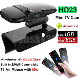 Wholesale Upgrade Smart Box - HD23 Android TV BOX with 2.0MP Camera AllWinner H3 Quad Core 1G 8G Smart Mini PC WiFi Google IPTV Media Player Upgraded HD22 T3 Air Mouse