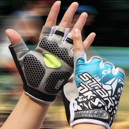 Wholesale Glove Bicycling - Wholesale-New Gel Pad Cycling Glove Half Finger Men Mountain Bike Bicycle Anti-Slip Breathable Shockproof Cycling Gloves Accessories N1004