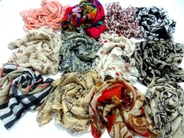 Wholesale Scarfs For Cheap - DHL FREE Mix Many styles cheap Women scarves flower butterfly printed chiffon scarves wholesale for spring autumn