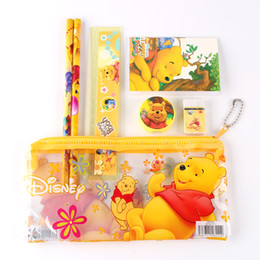 Wholesale Cute Pencil Cases For Girls - Wholesale-1 set children pencil case cute bear sticker stationery set for girls & boys cartoon School supplies kids pencil bag