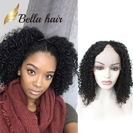 Wholesale U Size - U Part Wigs Bob Short Curly Lace Wigs for Black Women Lace Front Wig Virgin Human Hair Bellahair
