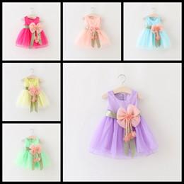 Wholesale Taffeta Pleated Skirt - 6 Colors Sleeveless newborn baby girl princess dress with big bow flower infant tutu skirts toddler sundress kids lace boutiques