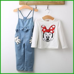 Wholesale Baby Denim Overalls - Girl overall set Baby Minnie Mouse Tops T-shirt Bib Denim Pants Outfits Set Costume children female hot selling suits fashion cartoon style
