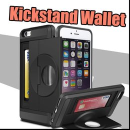Wholesale Slide Back Case - For iPhone 6S Plus Case, Wallet Card Slide Case Slim Fit Hybrid Dual Layer Armor Protective Magnifier Back Kickstand Card Slot Holder Cover