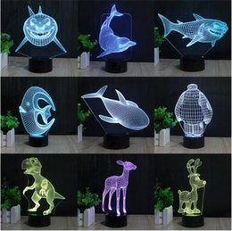 Wholesale Led Light Dropshipping - Customized Multi styles 3D Table Lamp Optical llusion Bulb Night Light 7 Colors Changing Mood Lamp Dropshipping