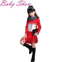 Wholesale Stylish Boys Clothes - Wholesale- Children Clothing Casual Cotton Long Sleeve Girls Sweatshirts Stylish Pretty Beads Personalized Tassel Design Children Hoodies 2