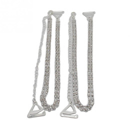 Wholesale Double Bra - Wholesale-1 Pair Women Clothing Intimates Adjustable Metal Double Row Bra Straps Crystal Diamante Rhinestone Bra Shoulder Belt